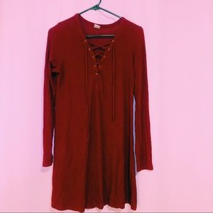 Red long sleeve ribbed dress (Empyre)